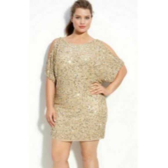 176a820d3f0 NEW Aidan Mattox Gold Sequin Cold Shoulder Dress